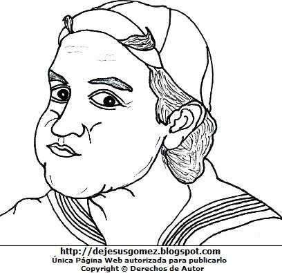 Imagen de la cara de Kiko o Quico para colorear, pintar o imprimir. Dibujo de Quico de Jesus Gómez