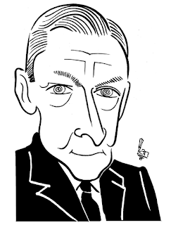 T S Eliot Caricature Sketch by Ian Davy Brown