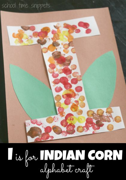 I is for Indian Corn Alphabet Craft-
