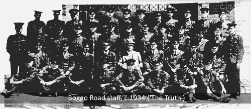 Group photo of Brisbane's Boggo Road Gaol male staff, 1930s (The Truth)