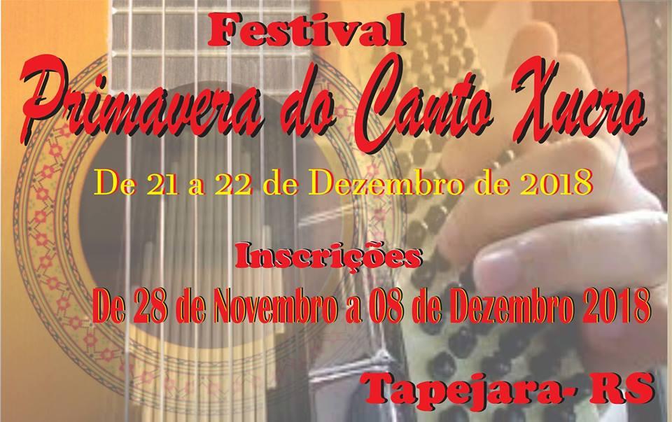Nos dias 21 e 22 de dezembro acontece o Festival Primavera do Canto Xucro na cidade de Tapejara-RS
