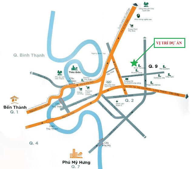vị trí dự án căn hộ chung cư flora fuji quận 9