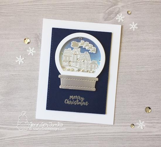 Snow Globe Shaker Christmas Card by Jennifer Timko | Snow Globe Scenes Stamp Set  and Snow Globe Shaker Die Set by Newton's Nook Designs #newtonsnook