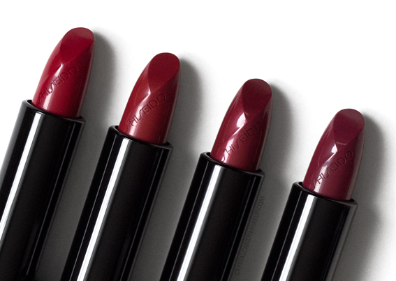 Shiseido Rouge Rouge Lipsticks Review  Ruby Copper Real Bloodstone Rum Punch