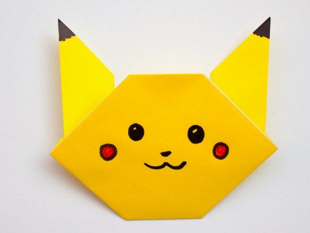easy origami pikachu tutorial pink stripey socks