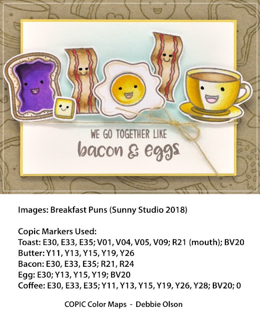 Sunny Studio Stamps: Breakfast Puns We Go Together Like Bacon & Eggs Card with Copic Coloring by Debbie Olson