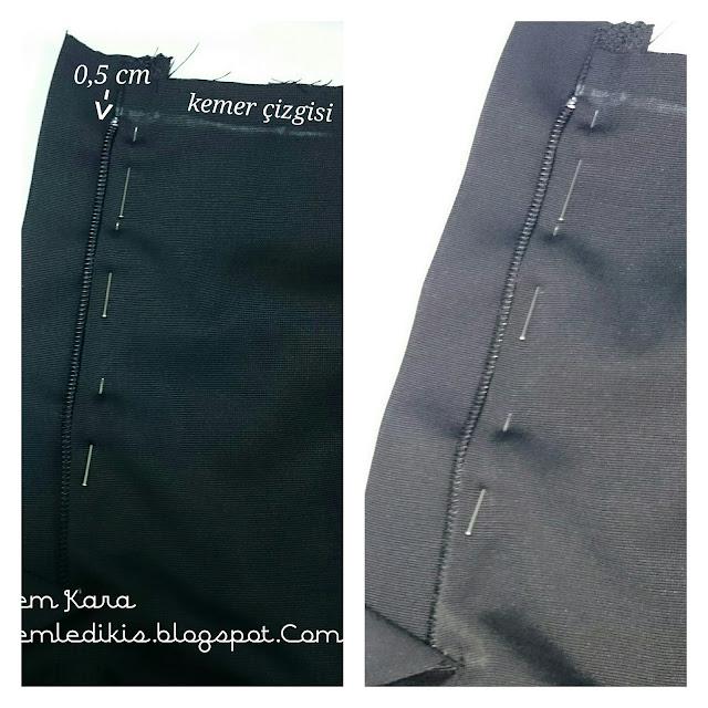 pantolon ve eteklerde patlı fermuar dikimi