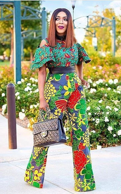 ankara high waist trouser designs, highwaist ankara trouser and blouse styles, ankara high waist trouser and top styles for ladies, latest ankara styles with high waist trousers, high waist ankara trousers and peplum top, Latest Ankara High Waist Trouser Styles For Ladies