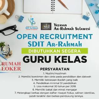 Lowongan Kerja Guru Kelas di SDIT Ar Rahmah Makassar