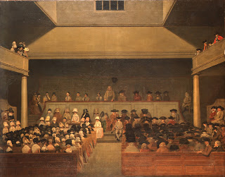 A painting of a late eighteenth century Quaker meeting in London, showing plain dress.