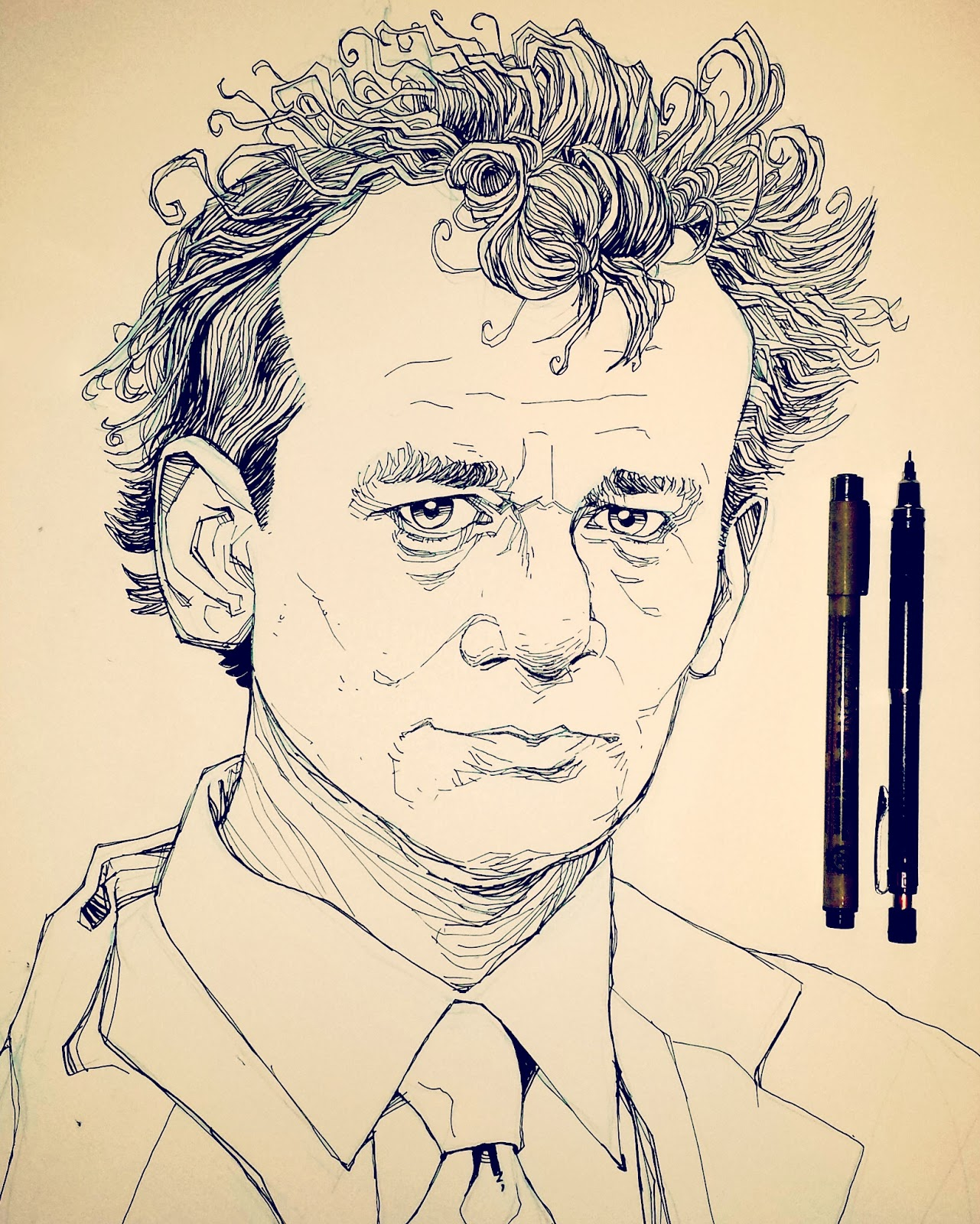 Peter Venkman Bill Murray Inktober Drawing