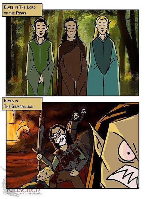 Meme de humor sobre elfos de Tolkien