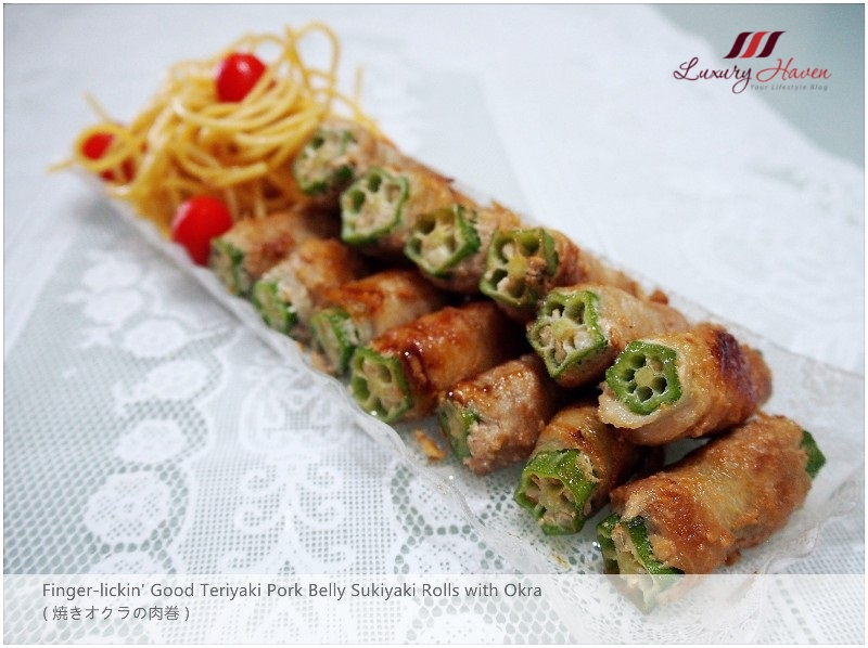 delicious teriyaki pork belly sukiyaki rolls with okra