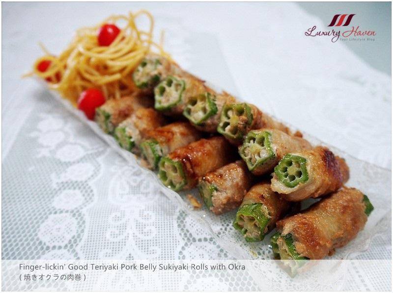 delicious teriyaki pork belly sukiyaki rolls with okra