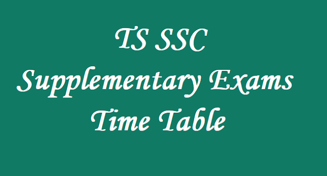 TS SSC Supplementary Exams Time Table,TS SSC Exams,Time Table