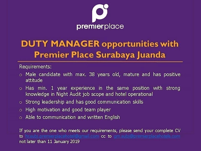 lowongan kerja duty manager premier place surabaya