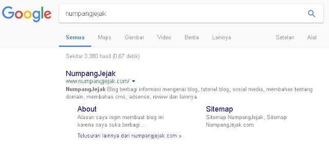 contoh sitelink blog