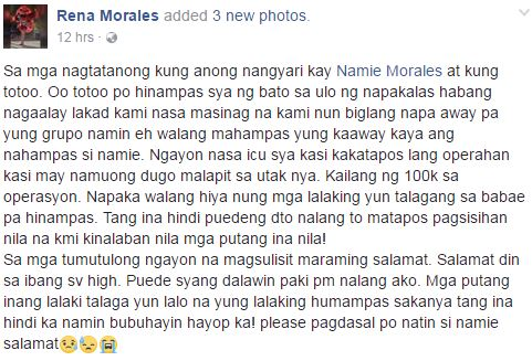 Netizen Asks For Help For Her Sister Who Was Sent To The ICU After Being Hit With a Rock During Their Alay-Lakad!