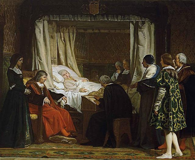A morte de Isabel a Católica. Eduardo Rosales, Museu Nacional del Prado, Madri.