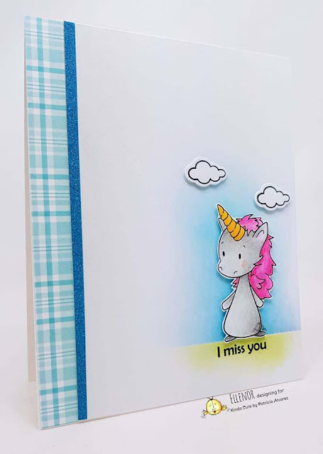 CAS card using and unicorn digital stamp