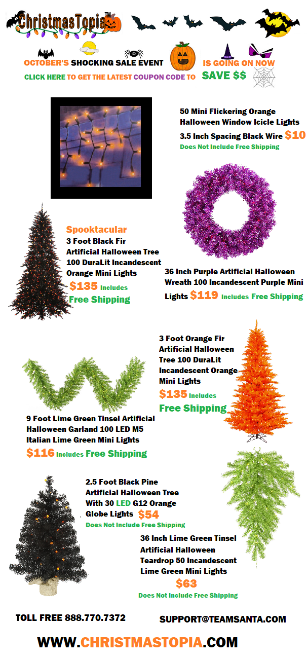 Only 19 Days Left Get Spooktacular Lighted #Halloween Trees, Wreaths and Garlands in Orange, Purple and Black at The Big #SALE Going on Now at @Christmastopia  http://bit.ly/2rep3BR