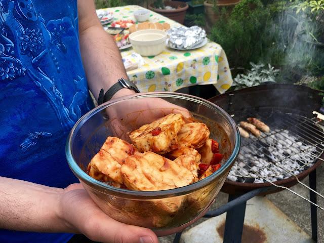 chilli marinaded halloumi ready for the bbq