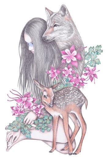 """Forest Wanderer"" by Andrea Hrnjak | dibujos bonitos a lapiz | imagenes lindas | illustration art | lobos y mujer con flores"