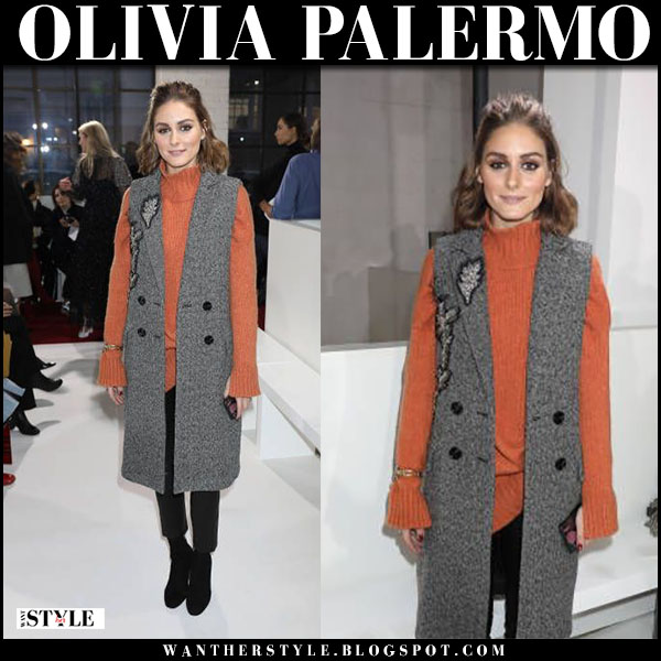 Olivia Palermo in grey sleeveless tweed coat and orange sweater london fashion week outfit february 18