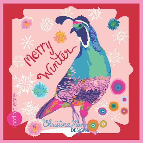 Merry Winter Quail (c) by Christina Mann Designs available for licensing.