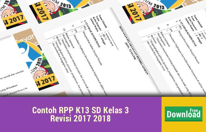 Contoh RPP K13 SD Kelas 3 Revisi 2017 2018