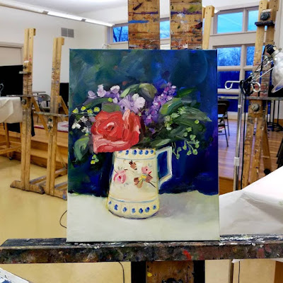 Tutorial How to paint My Heart Remembers oil on canvas floral painting by Pennsylvania artist Merrill Weber