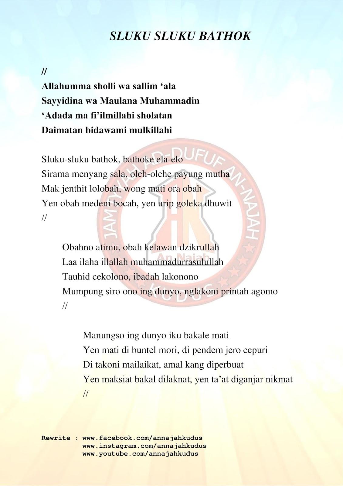 Lagu Sluku Sluku Batok : sluku, batok, SLUKU, BATHOK, NAJAH, KUDUS
