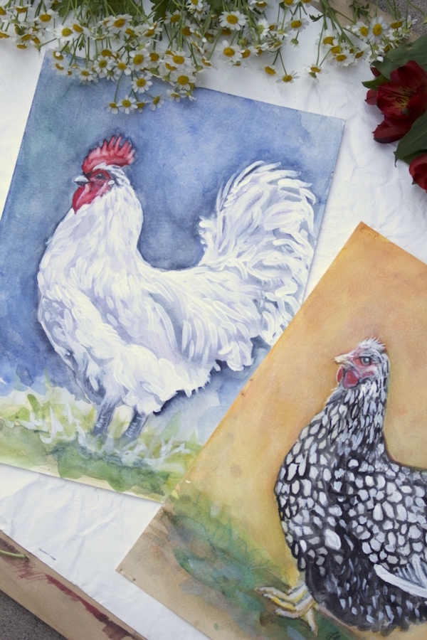 Chicken Paintings- www.gildedbloom.com