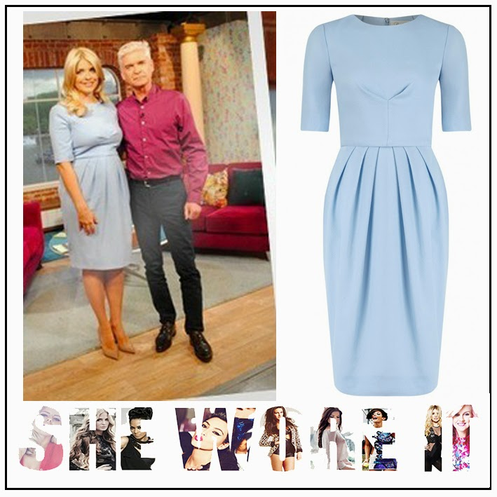 Beulah London, Bust Detail, Dart Detail, Dress, Half Sleeve, Holly Willoughby, Light Blue, Pleated, Round Neck, Tailored, This Morning, Tulip Dress, Wool,