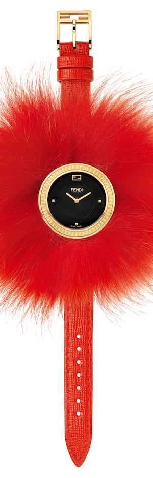 Fendi Timepieces 36mm Fendi My Way Watch w/Removable Fur Glamy, Red