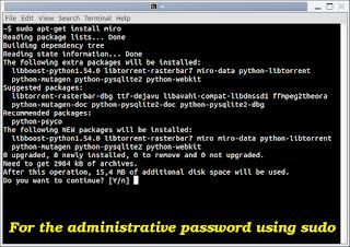 Za administrativne lozinke pomoću sudo Terminal Ubuntu