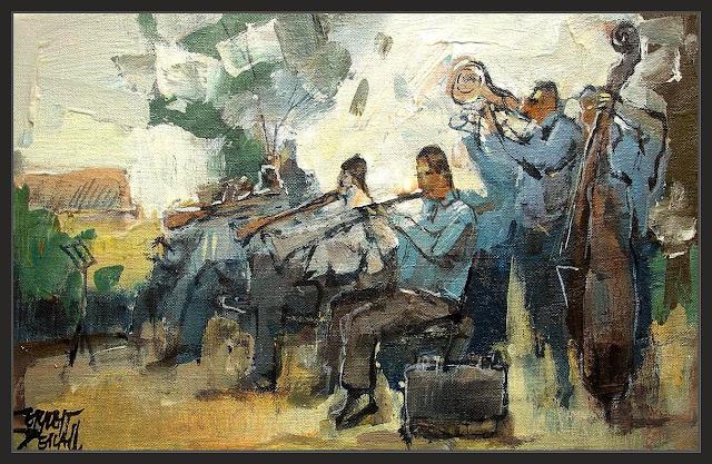 COBLA-MUSICA-ART-MUSICS-VILAVENUT-MUSICS-INSTRUMENTS-PAISATGES-GIRONA-CATALUNYA-PINTURES-ARTISTA-PINTOR-ERNEST DESCALS