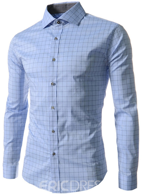 Lapel Plaid Single-Breasted Long Sleeve Shirt