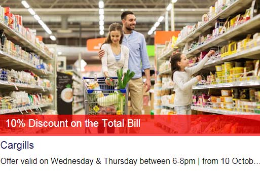 10% off on the total bill at Cargills