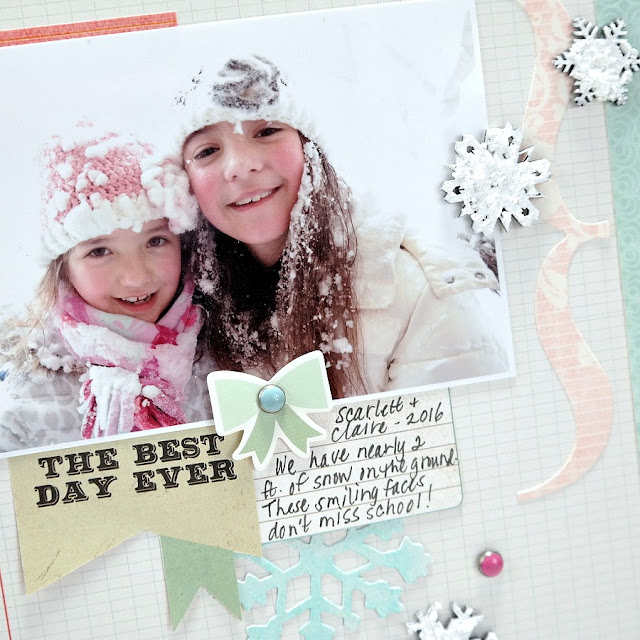 Best Snow Day Ever Scrapook Layout with Frosty Chipboard Snowflakes