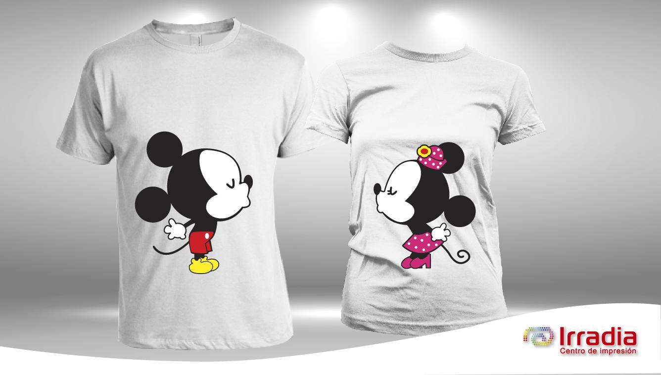 Playera Textil Mickey Y Minnie Mouse - Personalidad 3383427e0881e