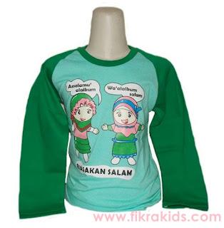 Kaos Raglan Anak Muslim Biasakan Salam