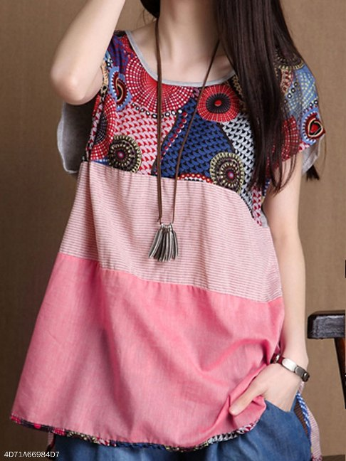 Spring Summer Cotton/Linen Women Round Neck Asymmetric Hem Patchwork Floral Printed Short Sleeve T-Shirts - FashionMia Special Price: US$ 12.95