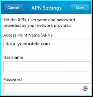New LycaMobile apn settings blackberry