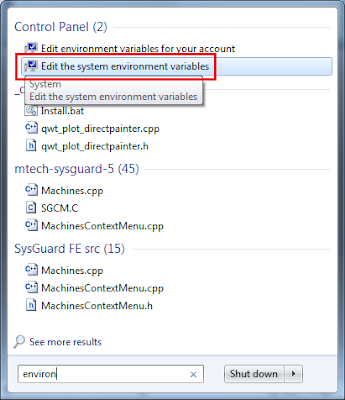 Opening the Environment Variables Window from the Start Menu
