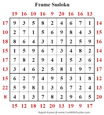 Answer of Frame Sudoku Puzzle (Fun With Sudoku #397)