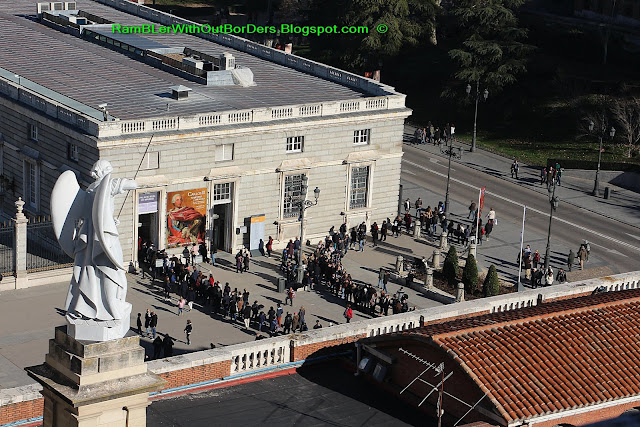 Visitor queue to enter the Royal Palace, Madrid, Spain