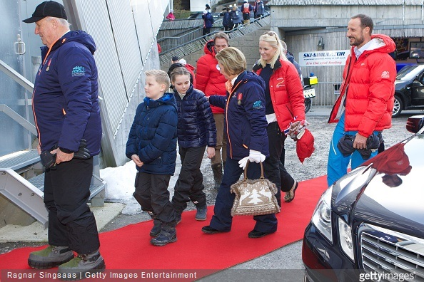 King Harald V of Norway, Prince Sverre Magnus of Norway, Princess Ingrid Alexandra of Norway, Queen Sonja of Norway, Crown Princess Mette-Marit of Norway and Crown Prince Haakon of Norway attend the FIS Nordic World Cup
