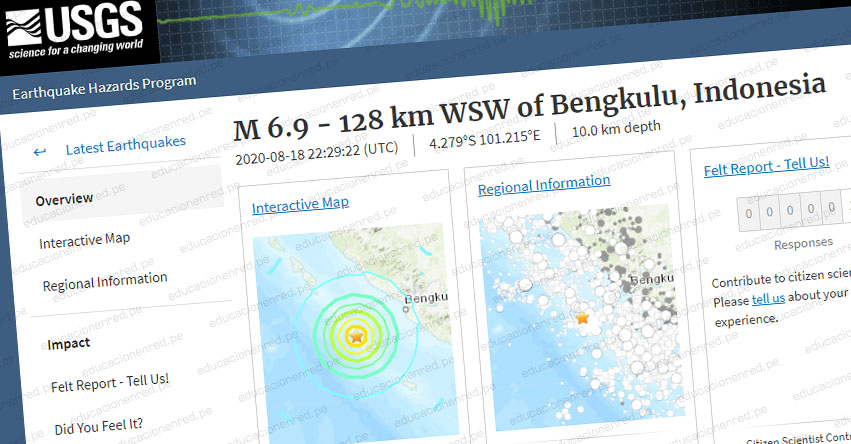 Terremoto en Indonesia de Magnitud 6.9 - Alerta de Tsunami (Hoy Martes 18 Agosto 2020) Sismo - Temblor - Epicentro - Bengkulu - USGS - www.earthquake.usgs.gov