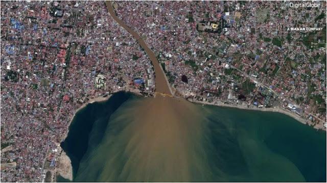 Satelit Tunjukkan Foto Perbedaan Wilayah Palu sebelum dan setelah Terjadi Bencana Gempa Tsunami